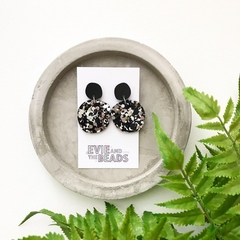 Black and Silver Chunky Statement Acrylic Earrings