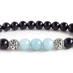 Black Onyx Gemstone & Brazilian Aquamarine Gemstone Bead Bracelet, Unique Gift