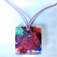 Resin  and alcohol ink Pendant