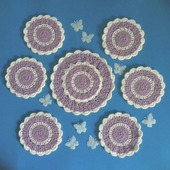 'Purple Rhapsody and Chantilly' Doily and Six Coasters