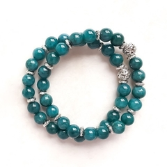 Teal Malaysian Jade Gemstone & Tibetan Bead Bracelet Set, Unique Gift