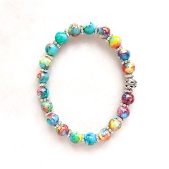 Beautiful Painted Glass Bead Bracelet, Unique Gift, Vintage Style