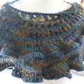 Crocheted mohair and acrylic scarf with vintage button, teal and gold ON SALE!!!