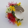 Artificial Native Corsage - Silver Plated Cuff Bracelet, Wedding Corsage