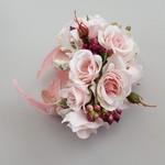 Pink Silk Flower Corsage - Silver Plated Cuff Bracelet, Wedding Wrist Corsage