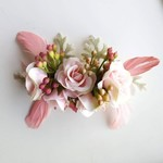 Pink Rose & Feather Hair Clip, Hairclip for Wedding