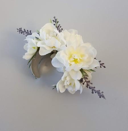 Ivory Silk Flower Corsage - Silver Plated Cuff Bracelet, Wedding Wrist Corsage