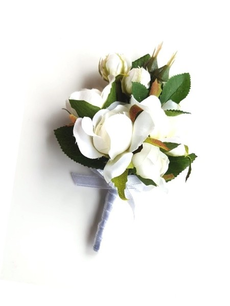 Lady's Pin-on Corsage - Silk Ivory Rosebuds, Wedding Corsage for Mothers