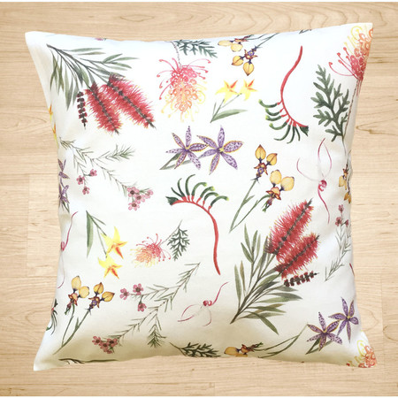 Native Australian mixed flora canvas cushion cover