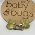 Bunny Gold Glitter Hair Snap Clips Easter