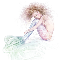 8x10 PRINT Tranquil Mermaid Colour Art Pencil Drawing