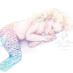 8x10 PRINT Sleeping Baby Mermaid Colour Art Pencil Drawing