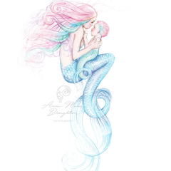 8x10 PRINT Mother and Baby Mermaid Colour Art Pencil Drawing