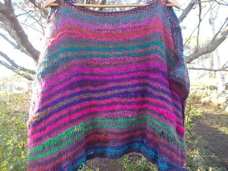 poncho in jewel colours hand knit loose free size mohair and wool blend yarns