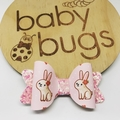 """Bunny Pink Glitter Hair Bow 3"""" Easter"""