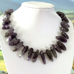 Natural CHEVRON AMETHYST Chic-Tribal Style Necklace with Magnetic Closure.