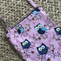 Pink owls cross-body bag