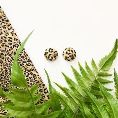 Cheetah Animal Print Fabric Covered Earrings Surgical Steel Studs