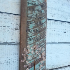 Christian Upcycled Sign - Bible Quote - Tree of Life - Revelation 2v7