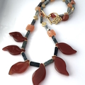 Natural CARNELIAN, Green Moss AGATE Autumn Leafy Necklace.