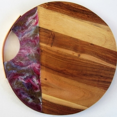 Rose Gold Handle Timber Cheeseboard with Resin Art