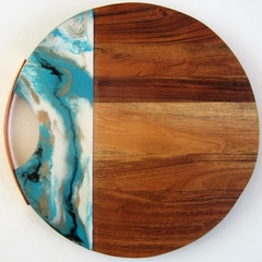 Rose Gold Handle Timber Cheeseboard / Grazing Board with Resin Art