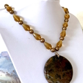 Natural JASPER, Golden Crystal and Faux Pearl, OUTBACK Necklace.