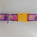 Medium size purple flower adjustable dog collar