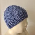 0-3m, Beanie Hat, FREE POST , Hand Knit, Wool , Blue