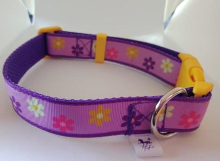 Medium size purple flower adjustable dog collar