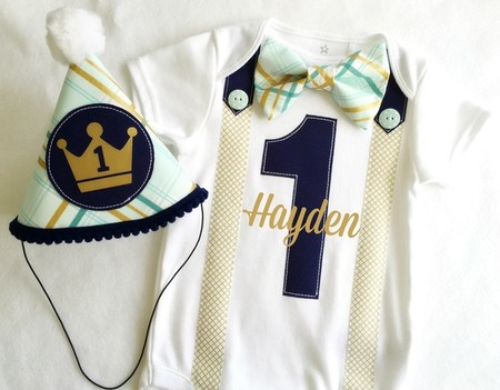 Royal Prince First Birthday Outfit. Navy, Teal & Gold. Birthday Boy Bodysuit