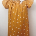 Smock Dress - Mustard Peasant Dress - Bunnies - Easter - Sizes 1-6