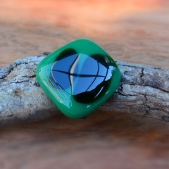 Green and black fused glass ring.