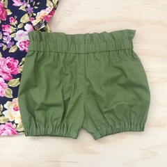 Size 2 -  Bubble Shorties - Olive Green - Bloomers - Retro