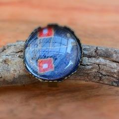 Midnight- Tie Style Glass Bead Round Ring