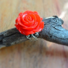 Red Rose filigree ring