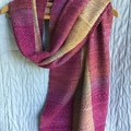 Soft Acrylic Handwoven Shawl / Wrap, Lightweight, Cerise / Gold