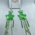 Handmade, stunning, glittery green star & vintage bead combo dangle earrings