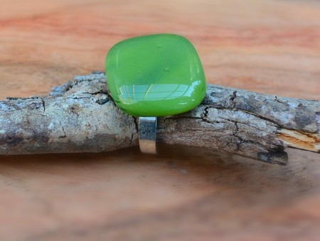 Green  fused glass ring.