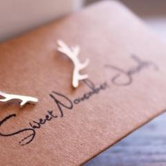 Antler Earrings in Sterling Silver