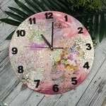 Sparkly Neon Glitter PINK Buttons Resin clock - silent motion