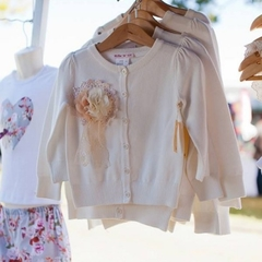Girls Cream Winter Rosette Cardigan Size 4