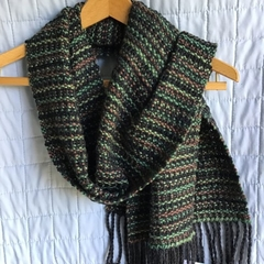 Unisex Handwoven Scarf, 100% Acrylic, Green, Brown & Charcoal Grey