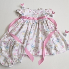 "Size 3 to 6 Months - ""Cute Bunnies"" Dress"