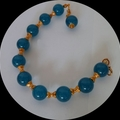 Teal Apatite and gold bracelet
