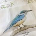 Kingfisher Tea Towel, Australian wildlife illustration, bird, linen fabric