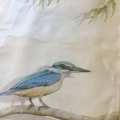 Kingfisher Tea Towel, Australian wildlife illustration, bird, linen fabric