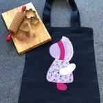 Toy/Library Pink Flower Motif Bag for Children