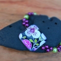 Passion fruit flower beaded bracelet (square)