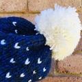 Knitted blue fair isle beanie, blue black beanie, beanie, PomPom beanie